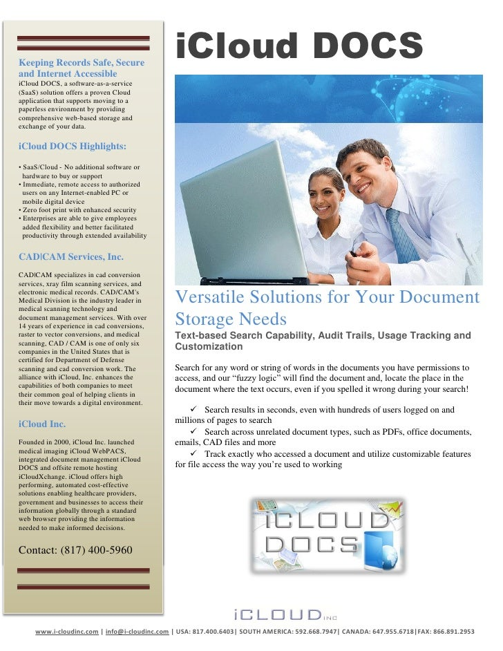 Keeping Records Safe, Secure                                               iCloud DOCS    Fully Managed Servicesand Intern...