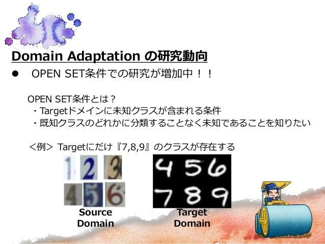 Domain Adaptation の研究動向  OPEN SET条件での研究が増加中!! OPEN SET条件とは? ・Targetドメインに未知クラスが含まれる条件 ・既知クラスのどれかに分類することなく未知であることを知りたい <例> ...
