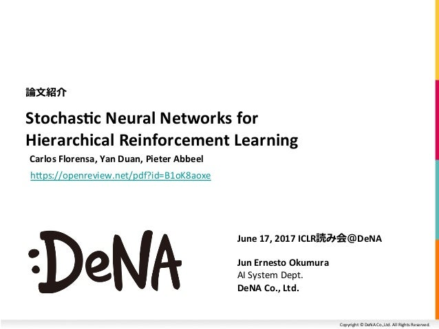 Copyright	©	DeNA	Co.,Ltd.	All	Rights	Reserved.	 Stochas(c	Neural	Networks	for	 Hierarchical	Reinforcement	Learning	 	Carlo...