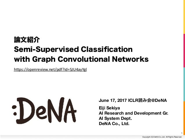 Copyright (C) DeNA Co.,Ltd. All Rights Reserved. June 17, 2017 ICLR @DeNA Eiji Sekiya AI Research and Development Gr. AI S...