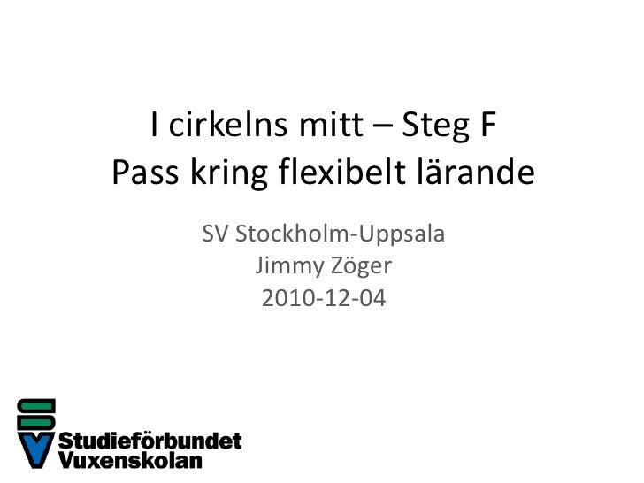 I cirkelns mitt – Steg FPass kring flexibelt lärande<br />SV Stockholm-Uppsala<br />Jimmy Zöger<br />2010-12-04<br />