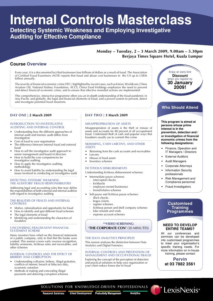 Internal Controls Masterclass Detecting Systemic Weakness and Employing Investigative Auditing for Effective Compliance   ...