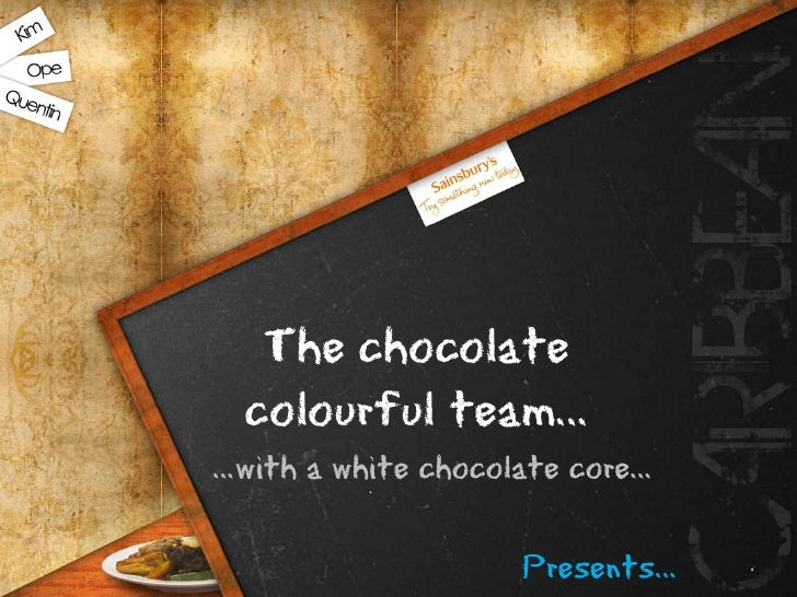The chocolate   colourful team… …with a white chocolate core…                      Presents…