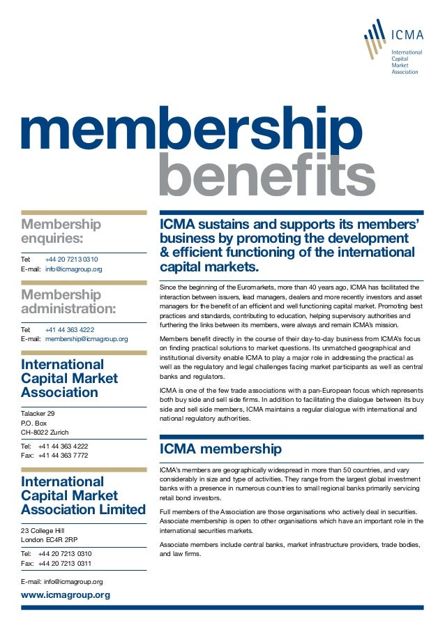 Membership enquiries: Tel: 	 +44 20 7213 0310 E-mail:	 info@icmagroup.org Membership administration: Tel: 	 +41 44 363 422...