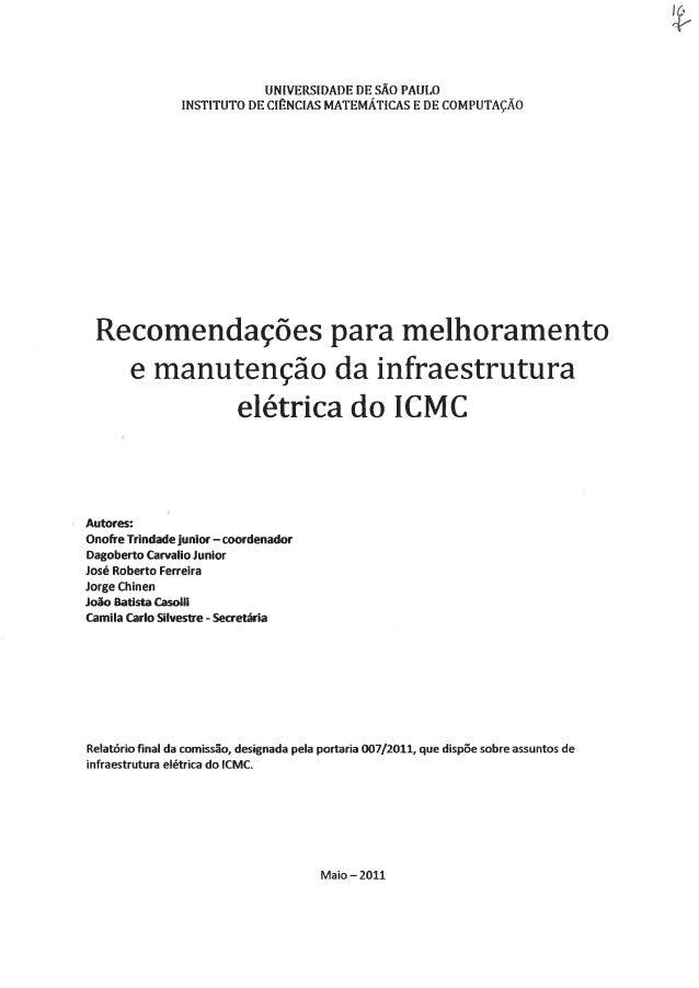 Icmc recomendações para manutenção de infra elétrica do icmc