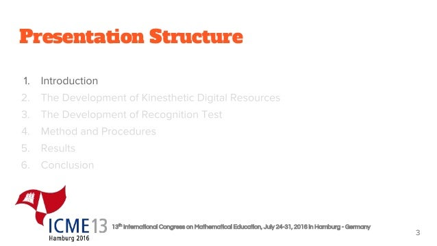 13th International Congress on Mathematical Education, July 24-31, 2016 in Hamburg - Germany Presentation Structure