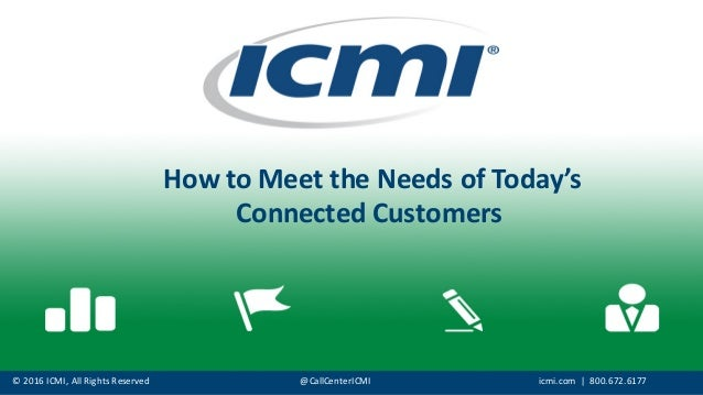 ©  2016  ICMI,  All  Rights  Reserved @CallCenterICMI icmi.com |    800.672.6177 How  to  Meet  the  ...