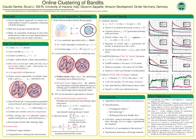 Online Clustering of Bandits Claudio Gentile, Shuai Li: DiSTA, University of Insubria, Italy; Giovanni Zappella: Amazon De...