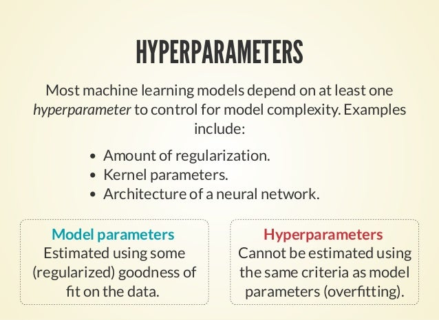 HYPERPARAMETERS Most machine learning models depend on at least one hyperparameter to control for model complexity. Exampl...