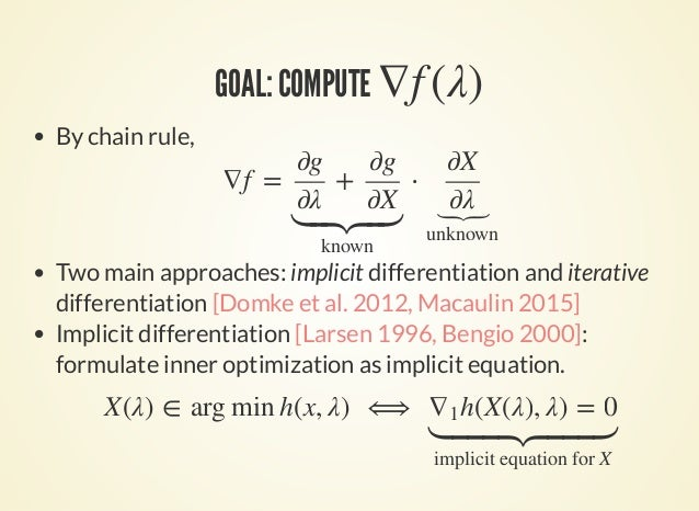 GOAL: COMPUTE ∇f (λ) By chain rule, Two main approaches: implicit differentiation and iterative differentiation [Domke et ...