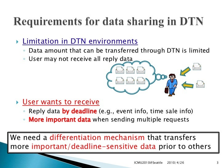 2010-04-24-DTN-based Delivery of Word-of-Mouth Information with Priority and Deadline Slide 3