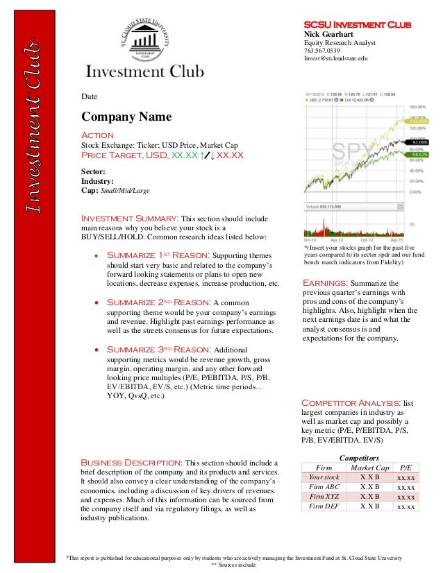 Scsu Investment Club - Equity Research - Report Template
