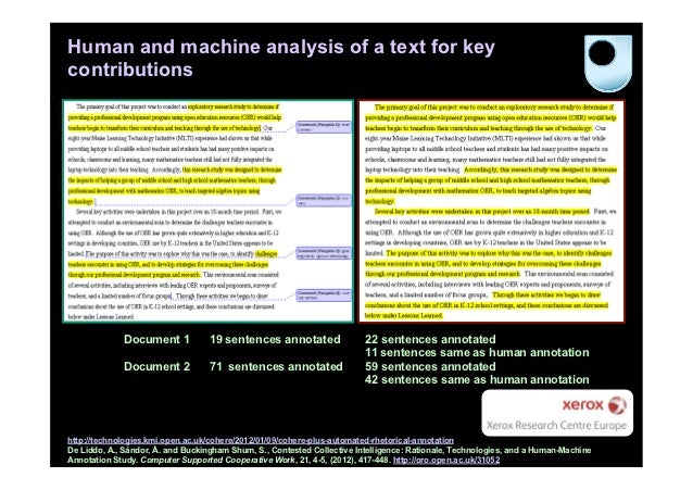 Human and machine analysis of a text for keycontributions             Document 1           19 sentences annotated         ...