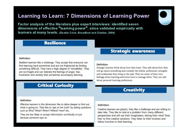 Learning to Learn: 7 Dimensions of Learning PowerFactor analysis of the literature plus expert interviews: identified seve...
