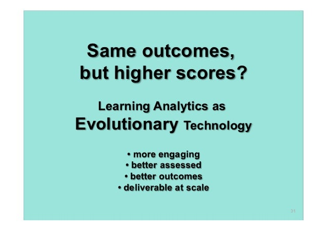 Same outcomes,but higher scores?  Learning Analytics asEvolutionary Technology        • more engaging       • better asses...