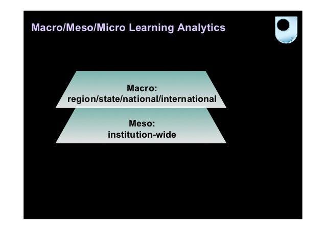 Macro/Meso/Micro Learning Analytics                    Macro:      region/state/national/international                    ...