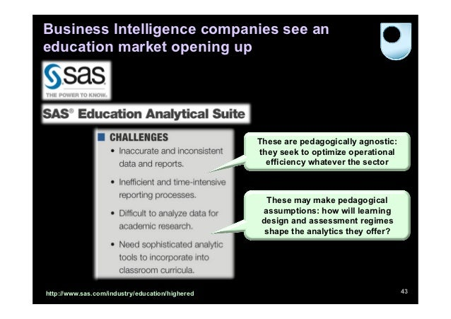 Business Intelligence companies see aneducation market opening up                                                 These ar...