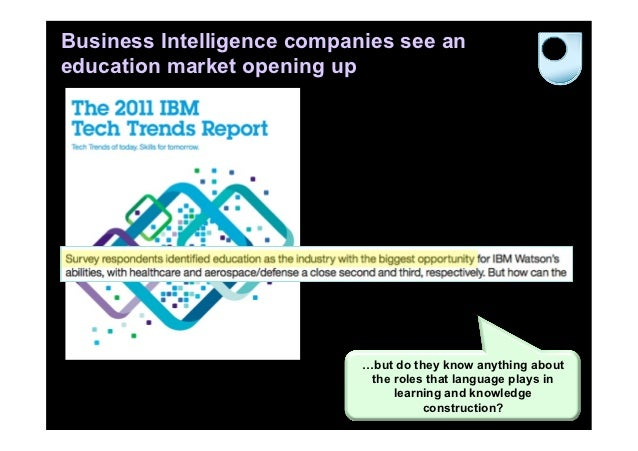 Business Intelligence companies see aneducation market opening up                            …but do they know anything ab...