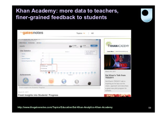 Khan Academy: more data to teachers,finer-grained feedback to studentshttp://www.thegatesnotes.com/Topics/Education/Sal-Kh...