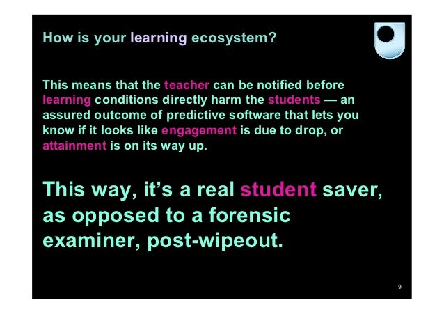 How is your learning ecosystem?This means that the teacher can be notified beforelearning conditions directly harm the stu...