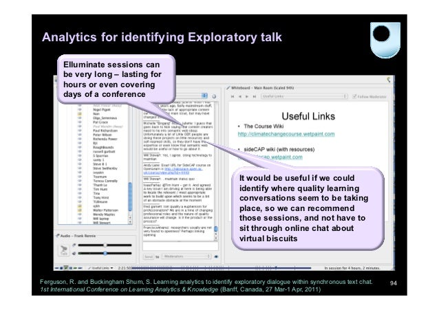 Analytics for identifying Exploratory talk        Elluminate sessions can        be very long – lasting for        hours o...