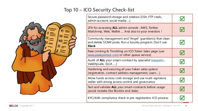 ©copyright 2017 Top 10 – ICO Security Check-list ICO and Cyber Security - ICOChain 2 - 01.11.17 16 Secure password storage...