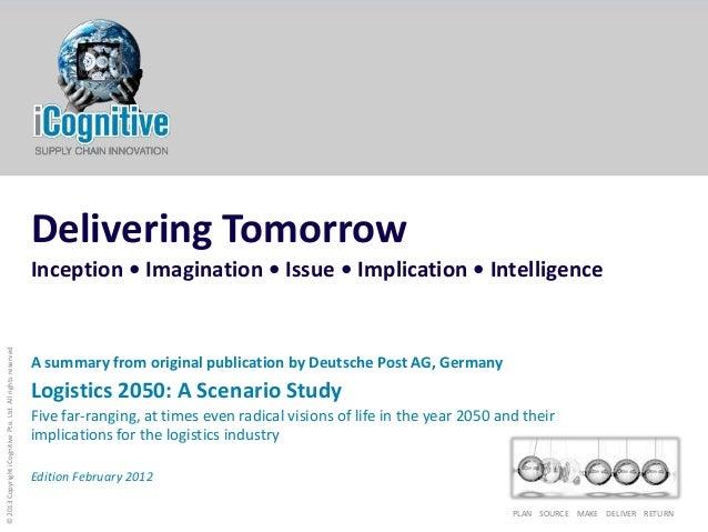 PLAN SOURCE MAKE DELIVER RETURN©2013CopyrightiCognitivePte.Ltd.AllrightsreservedDelivering TomorrowInception • Imagination...