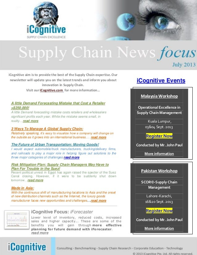 iCognitive aim is to provide the best of the Supply Chain expertise. Our newsletter will update you on the latest trends a...