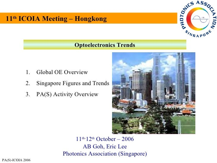 11 th  ICOIA Meeting – Hongkong Optoelectronics Trends 11 th- 12 th  October – 2006 AB Goh, Eric Lee Photonics Association...