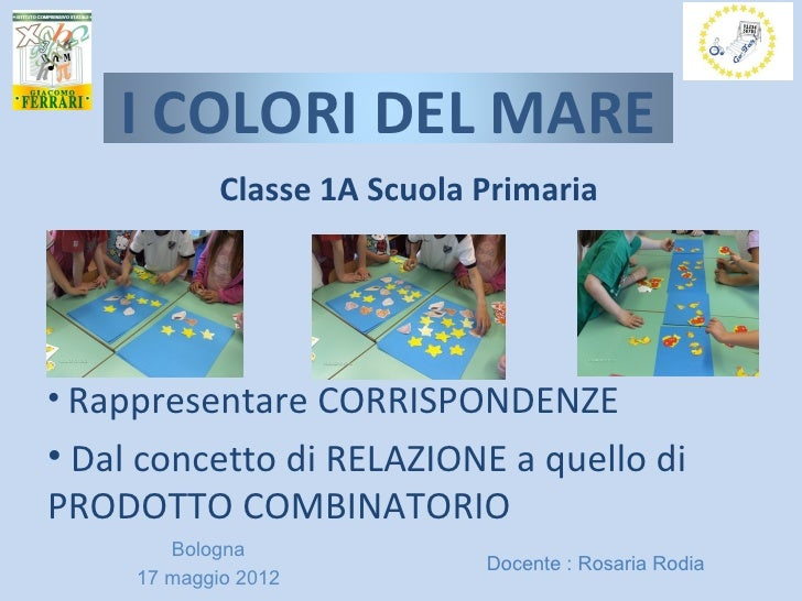 I COLORI DEL MARE             Classe 1A Scuola Primaria• Rappresentare CORRISPONDENZE• Dal concetto di RELAZIONE a quello ...