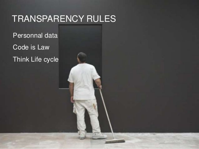 TRANSPARENCY RULES Personnal data Code is Law Think Life cycle
