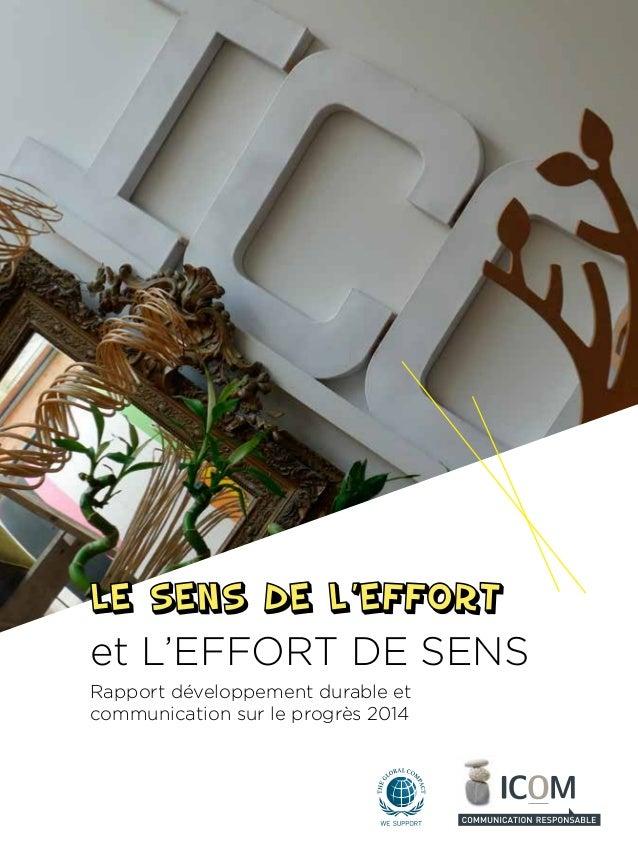 Rapport développement durable et communication sur le progrès 2014 et L'EFFORT DE SENS