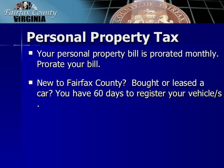 Personal Property Tax Fairfax