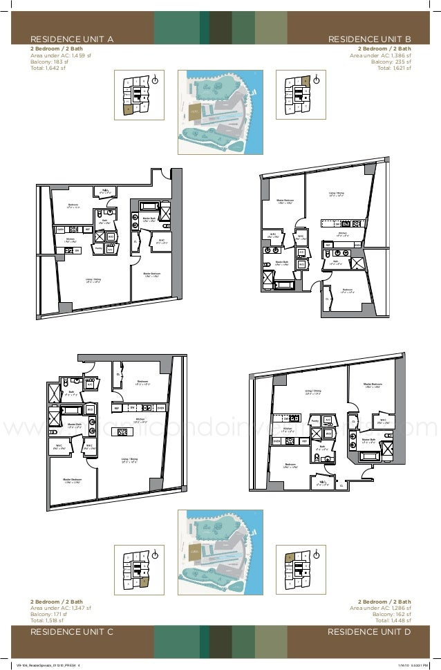 residence unit a  residence unit B  2 Bedroom / 2 Bath Area under AC: 1,459 sf Balcony: 183 sf Total: 1,642 sf  2 Bedroom ...