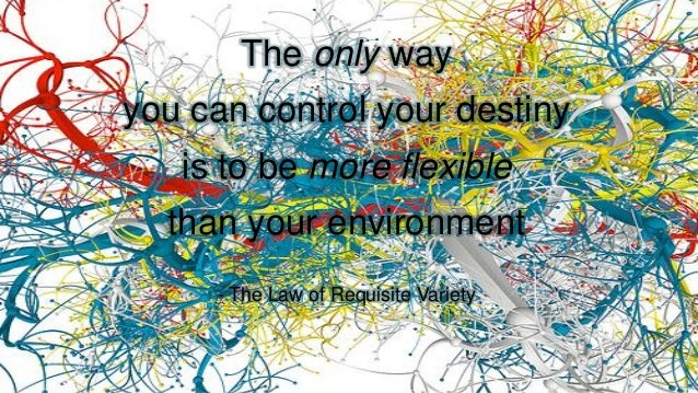 The only way you can control your destiny is to be more flexible than your environment - The Law of Requisite Variety
