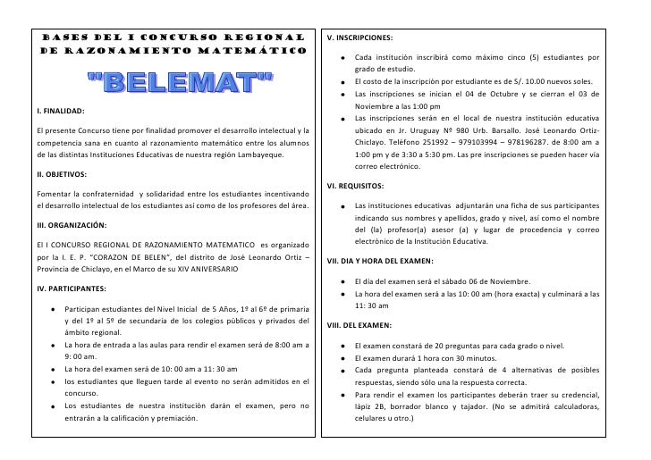 BASES DEL I CONCURSO REGIONAL                                                      V. INSCRIPCIONES: DE RAZONAMIENTO Matem...