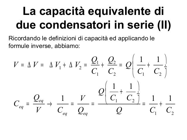 condensatore formula