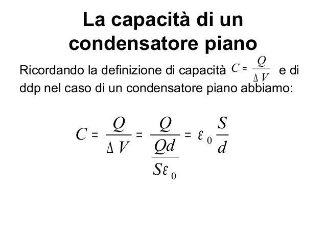 di un condensatore formule