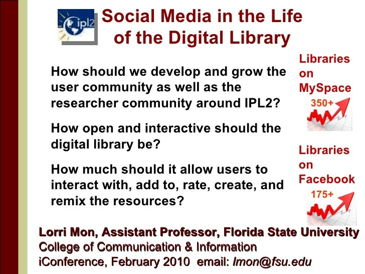 Social Media in the Life of the Digital Library <ul><li>How should we develop and grow the user community as well as the r...