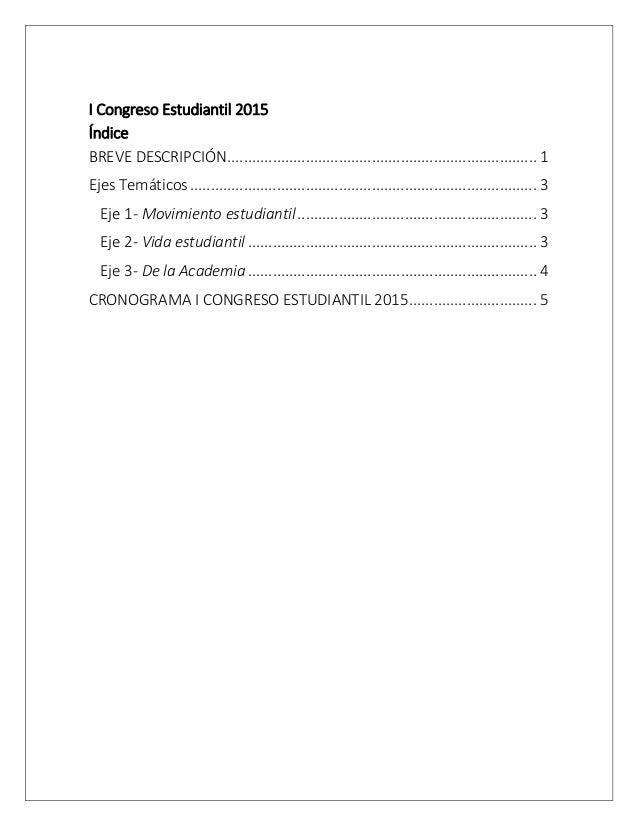 I Congreso Estudiantil 2015 Índice ........................................................................... 1BREVE DESC...