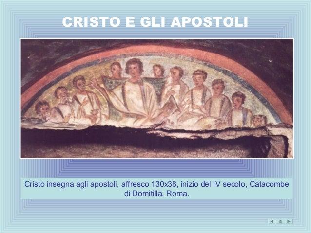 CRISTO E GLI APOSTOLICristo insegna agli apostoli, affresco 130x38, inizio del IV secolo, Catacombe                       ...