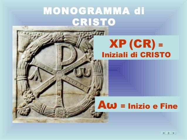 MONOGRAMMA di   CRISTO         XP (CR) =       Iniziali di CRISTO      Αω = Inizio e Fine