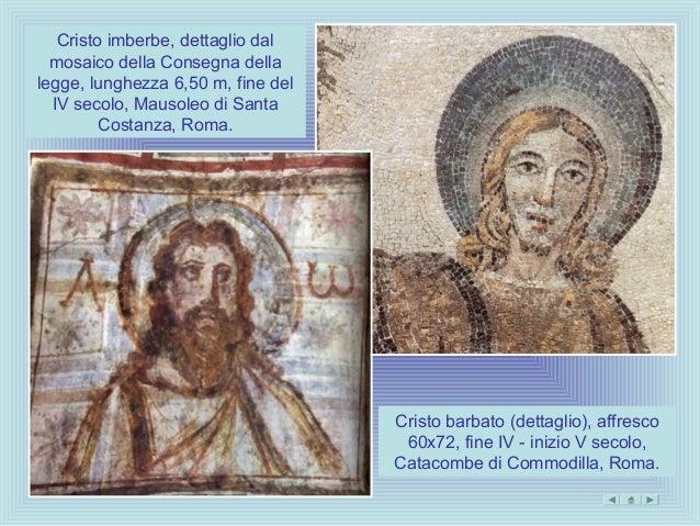 Cristo imberbe, dettaglio dal  mosaico della Consegna dellalegge, lunghezza 6,50 m, fine del  IV secolo, Mausoleo di Santa...