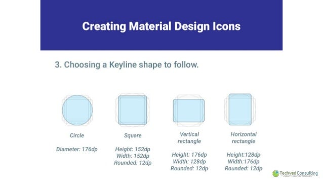 Creating Material Design Icons  3. Choosing a Keyline shape to follow.   Circle  Diameter:  176dp  Square  Height:  152dp ...