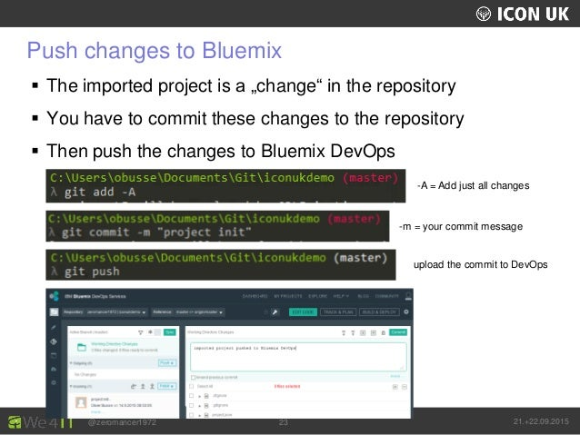 """UKLUG 2012 – Cardiff, Wales @zeromancer1972 21.+22.09.201523 Push changes to Bluemix  The imported project is a """"change"""" ..."""