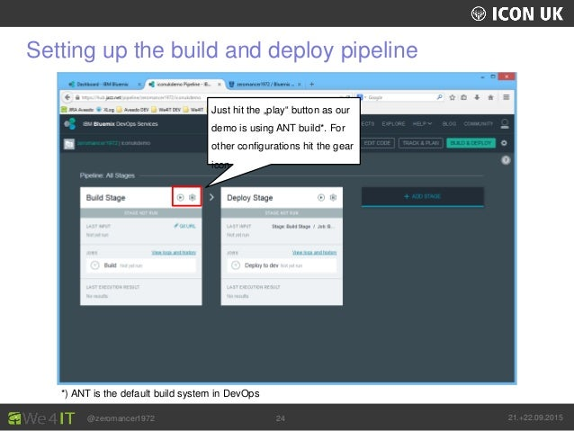 """UKLUG 2012 – Cardiff, Wales @zeromancer1972 21.+22.09.201524 Setting up the build and deploy pipeline Just hit the """"play"""" ..."""