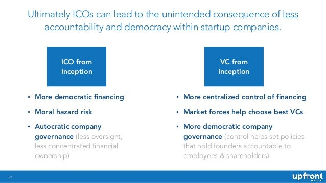 !21 ICO from Inception Ultimately ICOs can lead to the unintended consequence of less accountability and democracy within ...