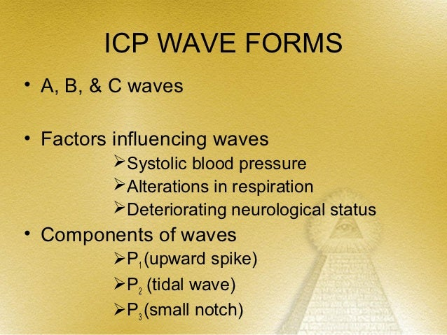 ICP WAVE FORMS             (CONT.)                   B waves•   Saw toothed appearance•   Occur every 30 – 60 sec•   Ampli...