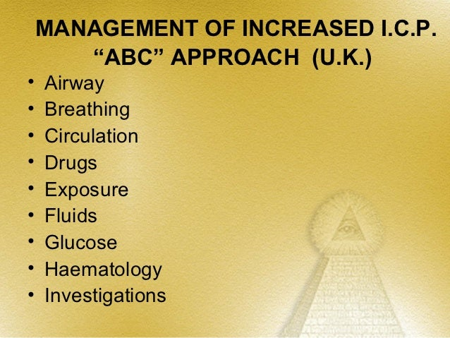 INTERVENTION FOR REDUCING      INCREASED ICP               Preliminary Management•   Maintain the patient's head in midlin...