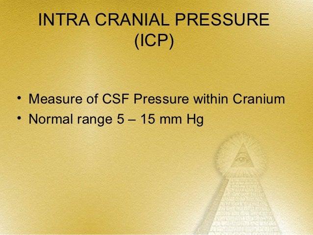 INTRA CRANIAL PRESSURE            (ICP)• Measure of CSF Pressure within Cranium• Normal range 5 – 15 mm Hg